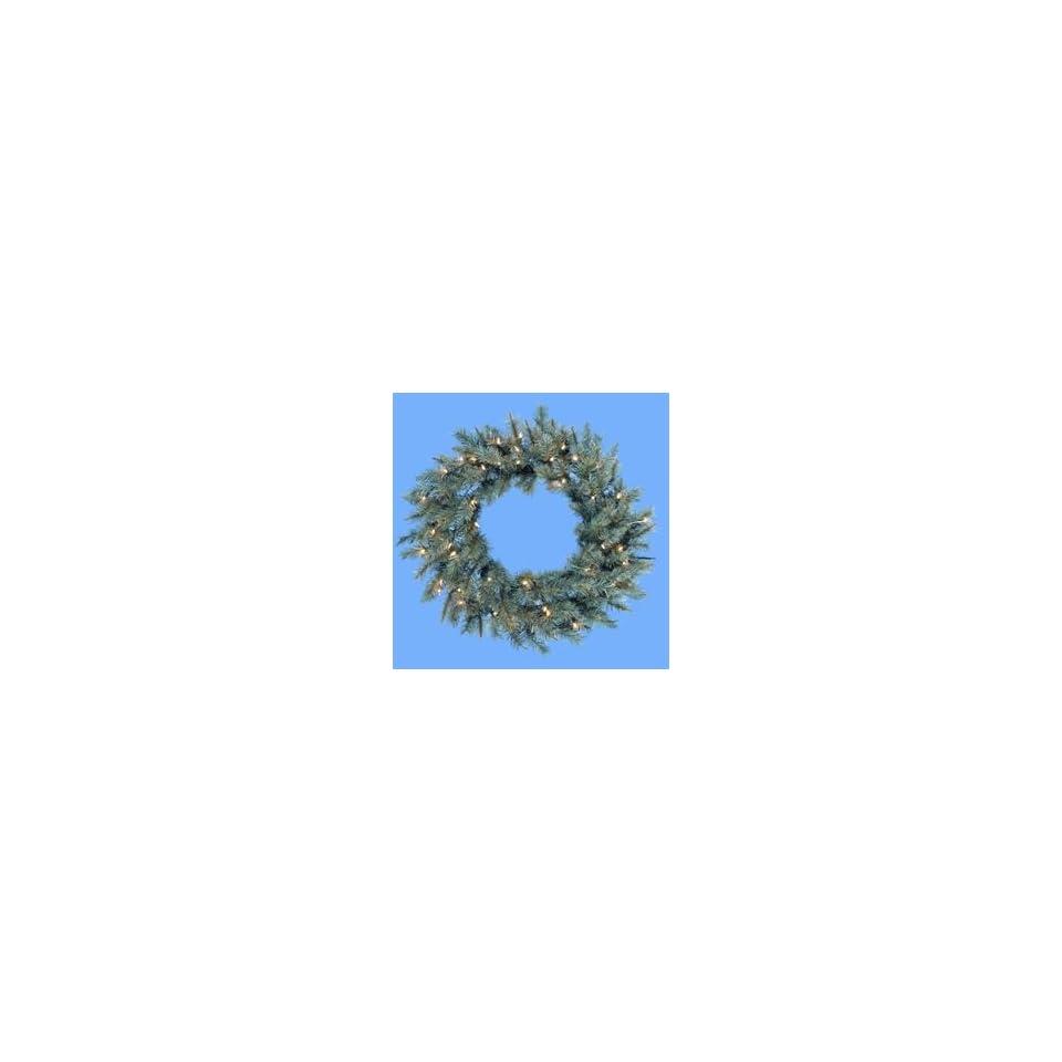 30 Pre Lit Designer Blue Spruce Artificial Christmas Wreath   Clear Lights