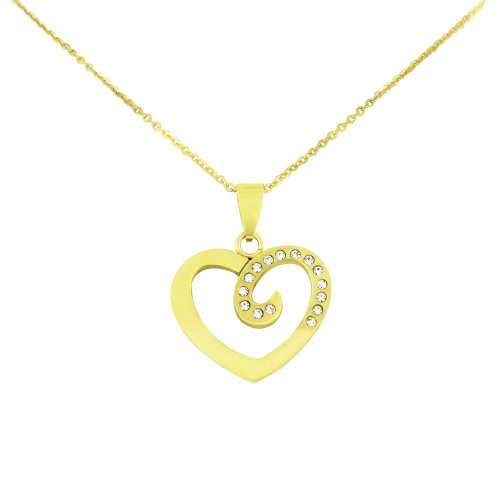 Ladies Crystal Gold Tone Stainless Steel Heart Pendant with Chain