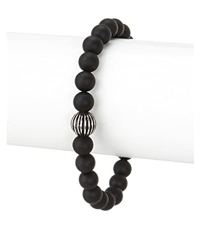 Stephen Oliver Matte Black Onyx & Oxidized Carved Sterling Bracelet