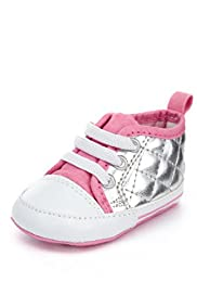 Lace Up Metallic Quilted Pram Trainers