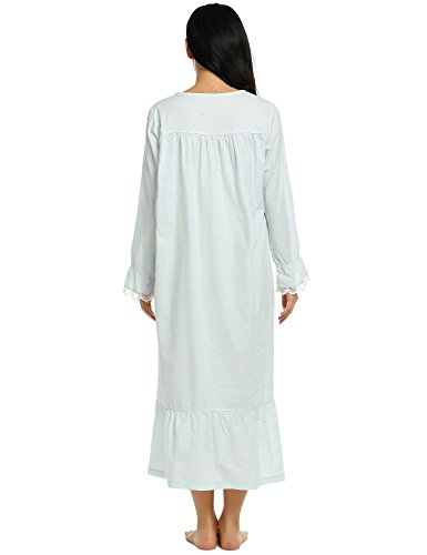Ekouaer Sleep Tee Shirts Ladies Cotton Night Dress Long: long cotton sleep shirts