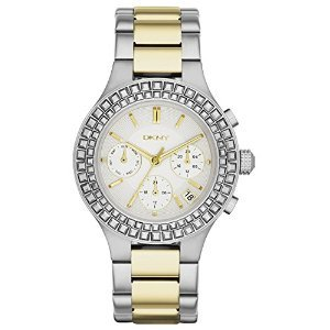 Dkny Chambers Chronograph White Pearlized Dial Two-Tone Ladies Watch Ny2260