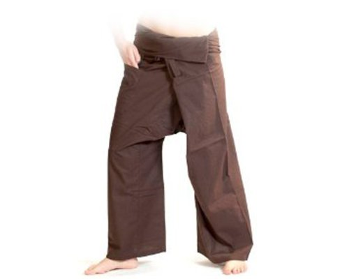 Unisexall® Free Size : 100% Cotton Wrap Pants Yoga Trousers For Unisex Pants Summer Sport And The Beach - Brown front-55385