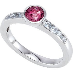 Sterling Silver Stackable Gemstone Ring: Size 6