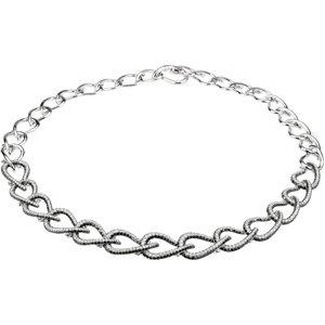 14K White Gold 9 3/4 Ct Tw 14Kw W/Black Rhodium Black And White Gold Diamond Necklace