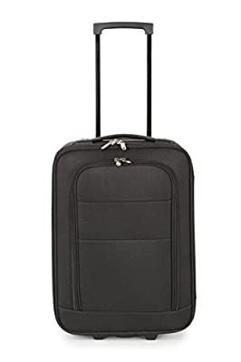 Hand luggage approved dimensions for Ryanair Aerlingus Easyjet BMI Baby Cabin sized luggage - suitable for all flights! (Black-Wheeled)