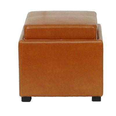 Safavieh Hudson Collection Kaylee Leather Single Tray Square Storage Ottoman, Saddle