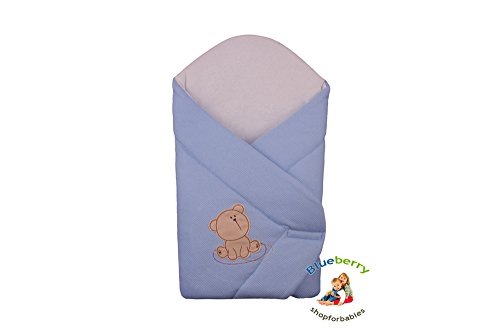 Blueberry Shop Beautiful Classic Newborn Baby Swaddle Wrap Blanket Snuggle Sleeping Bag (Blue)
