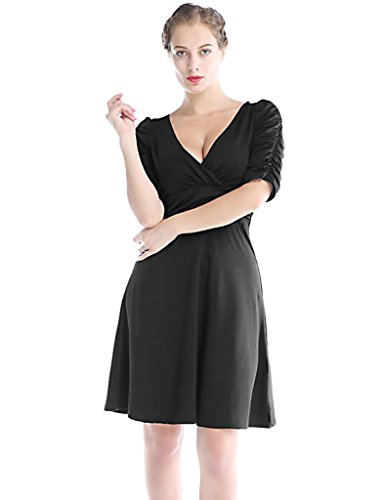 Sapphyra® Womens Vintage Sheath Ruched Waist V-neck Casual Cocktail Swing Dress