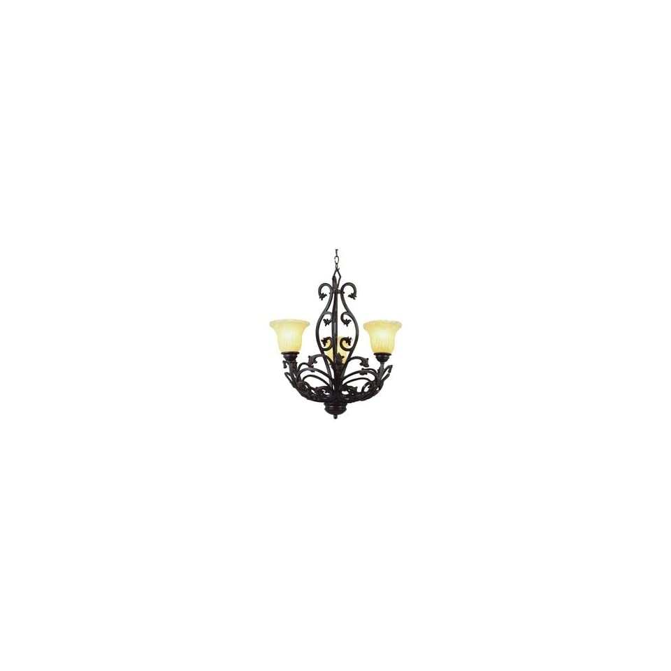 Trans Globe 3958 New Century   Three Light Chandelier, Champagne Ribbed Frost Glass