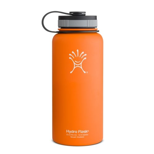Hydro Flask Insulated Wide Mouth Stainless Steel Water Bottle, Orange Zest, 32-Ounce front-777067