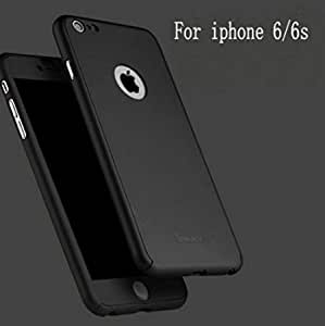 SEDOKA IPAKY Black Color All-round All-round Protective Slim Fit Case Cover with Tempered Glass Screen Protector Skin Slim Fit Case Cover for Apple iPhone 6/6S PLUS 5.5 Inch (Black) with Apple logo cut With Free Key Ring
