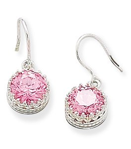 Round Pink CZ with Crown Edge Earrings on French Wire