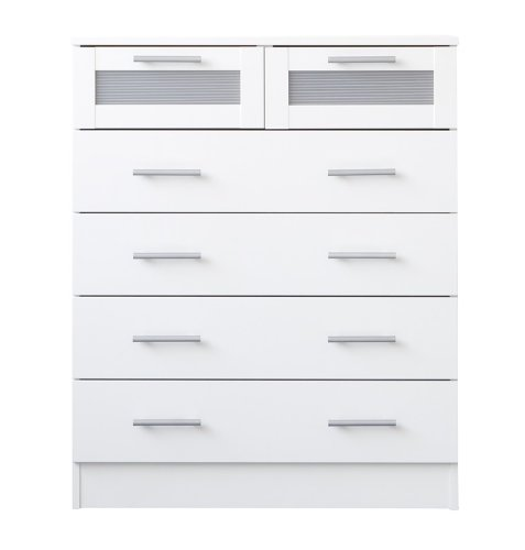 Melbourne Bedroom Furniture - 6 Drawer Chest of Drawers - Maple or White (White)