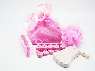4 small bath spa items in a light pink toiletry bag with string tie (sponge, pumice stone, hand brush and toe seperator) - beauty