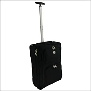 Wheeled Hand Luggage Flight Cabin Bag Suitable For Ryanair Easyjet Bmi Ba Virgin Its Within 55 X 40 X 20 Cm Black