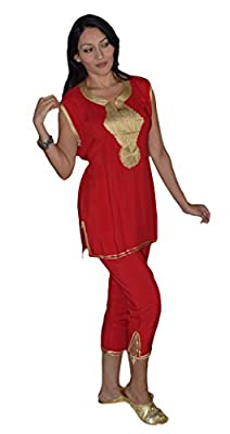 Moroccan Caftans Womens Breathable Soft Cotton Pant Set Tread Embroidered Red