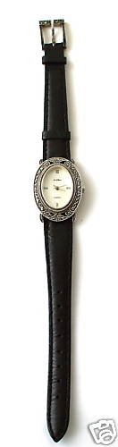 GENUINE MARCASITE REAL SILVER BLACK LEATHER STRAP WATCH