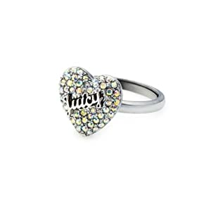 Juicy Couture Pave Heart Cocktail Ring, Silve /Gold
