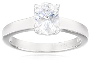 Sterling Silver Swarovski Zirconia 1.5cttw Oval Solitaire Engagement Ring from Elite Group International NY Inc.- ACC