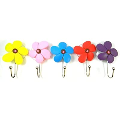 5 Five Flowers Shower Cloth Towel Suction Cup Hooks Hangers Suckers MY-1736