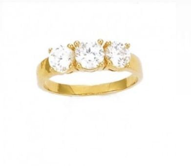 Simply Glamorous Jewellery And Gifts Shop - 18ct Gold Filled Three Stone Simulated Diamond Engagement Ring