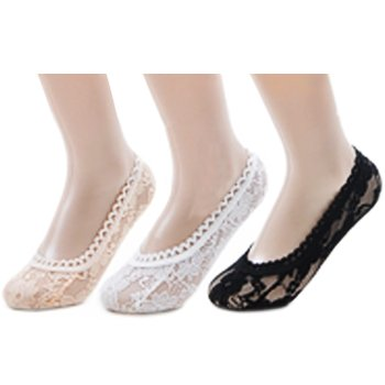 311MDJuZqPL kilofly Lace Liner No Show Socks [Set of 3 Pairs   Beige, White, Black] , 3 M US Little Kid , lady