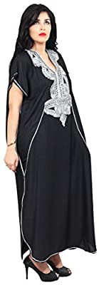 Moroccan Caftan Handmade Cotton Silver Hand Embroidery Breathable Soft Royal Black