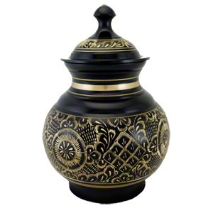 Elegant, High Quality Black Engraved Pet Memorial Urn - Medium