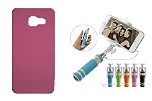 Toppings Hard Case Cover With Mini Selfie Stick For Samsung Galaxy A5 2016 - Light Pink