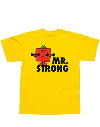 "Mr Men T-Shirt, Mr Men Mr Strong Yellow, Small, Chest 34 - 36"""