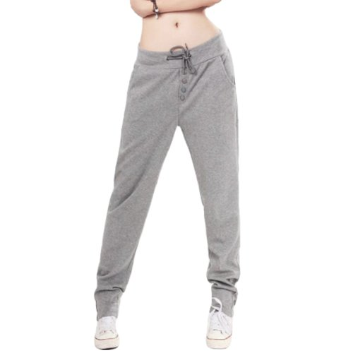 Whatwears Womens Casual Drawstring Sweatpant Sports Harem Pants Trousers