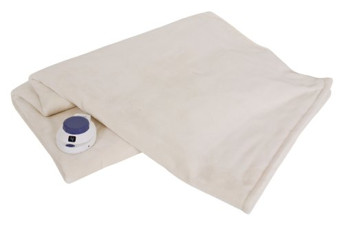 Soft Heat Luxurious Macromink Fleece Low-Voltage Electric Heated Throw, Natural