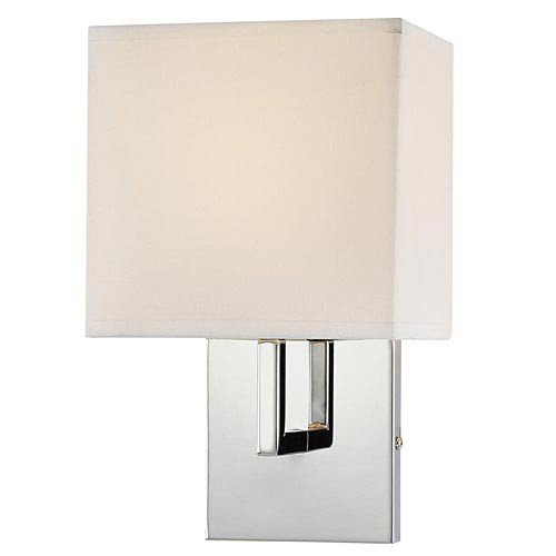 George Kovacs Gkp470-077 1 Light Wall Sconce W/White Fabric Shade, Chrome