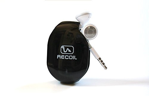 Recoil Automatic Cord Winder For Headphones And Earbuds. No More Tangled Headphones! The Original Retactable Cord Organizer. Black, Size Small