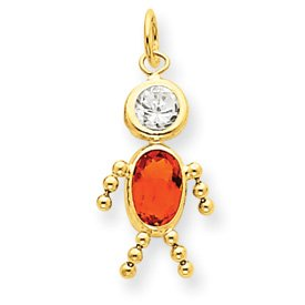 14k November Boy Gemstone Charm - JewelryWeb
