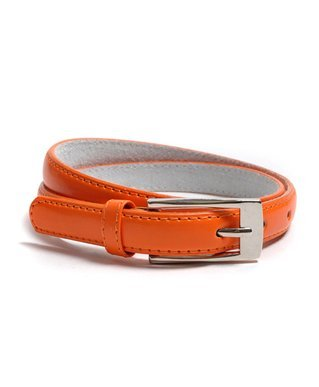 Solid Color Leather Adjustable Skinny Belt, Large (35