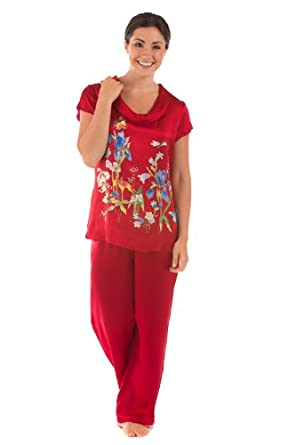 Women's Silk Pajamas Set Sleepwear - Butterfly Garden (Large) - Gifts for Women Wife Mom Mother Grandma Birthday Gift for Her Women Wife Girlfriend Best Top Gifts Women Gift Ideas Unique Unusual Gifts Ideas Her Presents Women's PJ Set PJs Pants Bottoms 0023-L