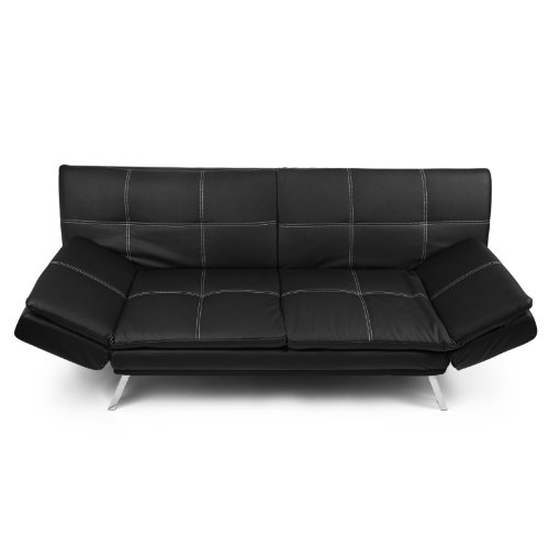 2 sitzer schlafsofa schlafcouch dessini loungesofa kunstleder schwarz wei e n hte hempels sofa. Black Bedroom Furniture Sets. Home Design Ideas