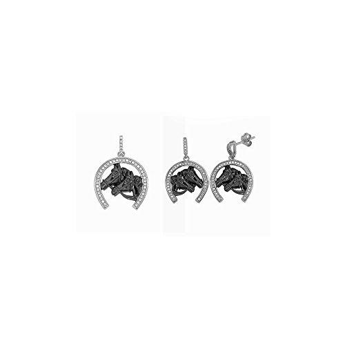 Parure Ciondolo e Orecchini a ferro di cavallo in Argento e Cristalli Swarovski Zirconia - Blue Pearls - CRY J230-J322 X