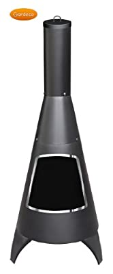 Garden Chiminea Fire Pit Gardeco Large Cone Chiminea Stainless Steel Rim Black
