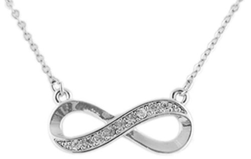 Ladies Silver Half Iced Out Infinity Pendant