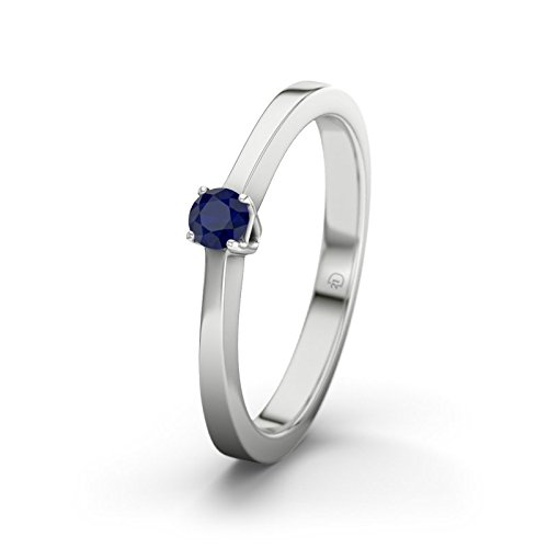 21DIAMONDS Women's Ring San Jose Engagement Ring Brilliant Cut Blue Sapphire Silver Engagement Rings
