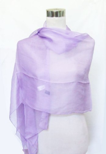 Habutai Purple Lily Silk Long Scarf 26 x 72