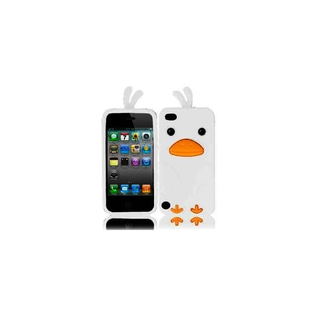 HJX White Funky Funny Duck Shape Design Soft Silicone Jelly Skin Case Cover for Apple iPod touch 5 5G 5th + Gift 1pcs Insect Mosquito Repellent Wrist Bands bracelet