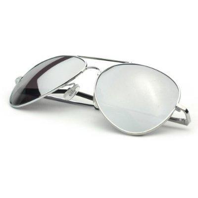 Aviator Sunglasses Silver Frame Mirror Lens