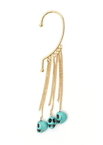 Voodoo Skulls Ear Cuff Gold Tone Metal Wrap Fringe Turquoise Blue Skeleton Chandelier Earring Fashion Jewelry