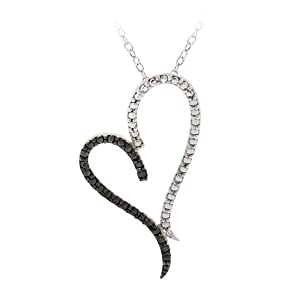 Sterling Silver Black-Diamond Asymmetrical Heart Pendant Necklace