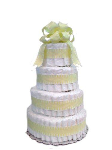Classic Pastel Baby Shower Diaper Cake (4 Tier, Yellow)