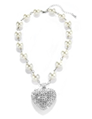 Per Una Pearl Effect and Diamanté Heart Pendant Necklace